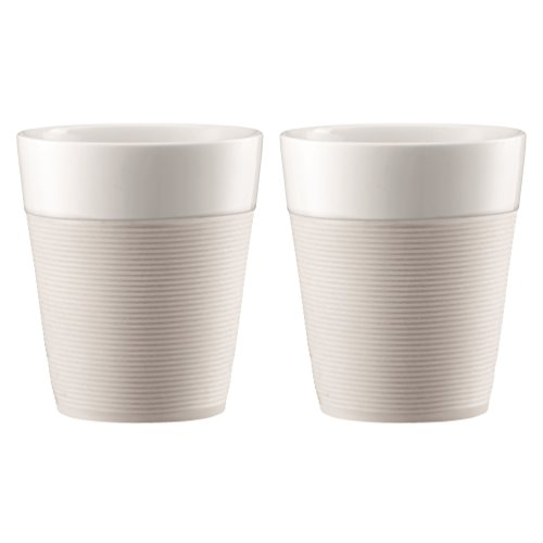 Bodum - 11582-913 - Bistro - Set de 2 Mugs en Porcelaine - 0,30 L - Bande Silicone Blanche