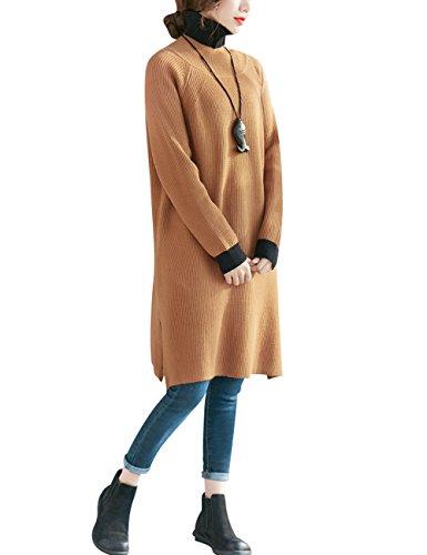 Youlee Donna Inverno Primavera Collo alto Maglione Vestito Giallo scuro