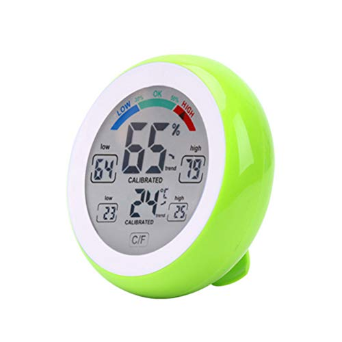 Ysoom Thermometer Hygrometer, Innen Außen Thermometer Digital Temperatur und Luftfeuchtigkeit Monitor, Thermo Hygrometer mit Touchscreen, Großem LCD Display, ℃/℉ Schalter, Ideal für Büro,etc (Green) Green Touch Screen
