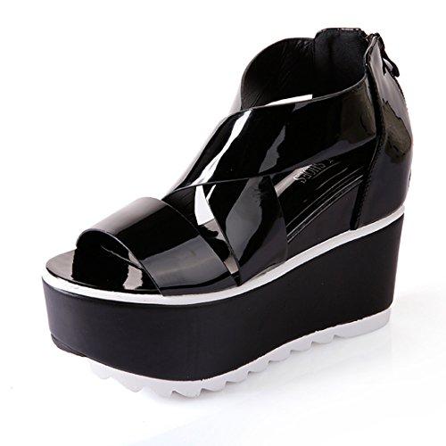Damen Sandalen Plateau Rutschhemmend Peep-Toe Römer Stil Reißverschluss Atmungsaktiv Sommerlich Schick Freizeit Schuhe Schwarz