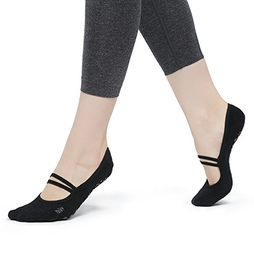 Yolev Yoga Pilates Socken mit Gummibänder und ABS Gummipunkte,anti-rutsch für Damen( Größe:EU35-40)