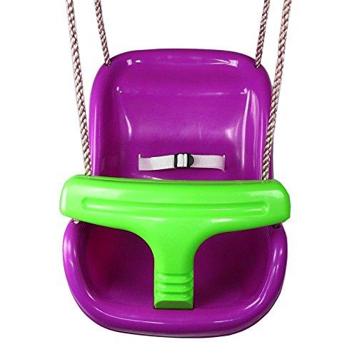 Baby-Schaukel Komfort lila/grün Schaukelsitz mit Sicherheitsgurt von Gartenpirat®