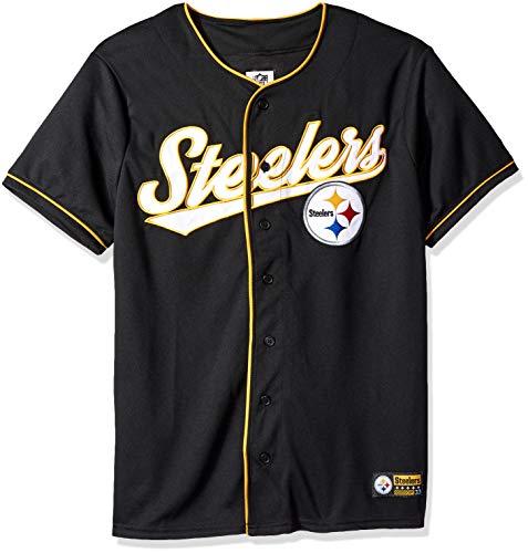 Icer Brands NFL Pittsburgh Steelers Herren Jersey T-Shirt Button Up Mesh Baseball Shirt, Medium, Schwarz -
