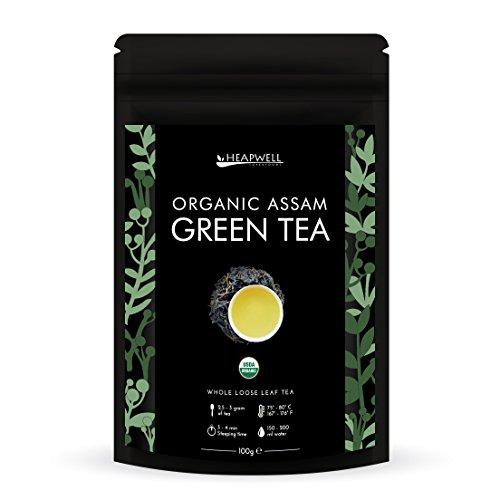 Thé vert bio | Thé en feuilles de l'Himalaya | Première récolte et roulé à la main | Riche en antioxydants, Parfait pour perdre du poids et amincir | (50 tasses) (100g)