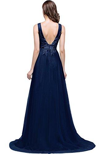 Babyonline® Damen A-Linie Langes Prinzessin Tüll Abendkleid Ballkleid Brautjungfern Cocktail Party kleid Navy Blau