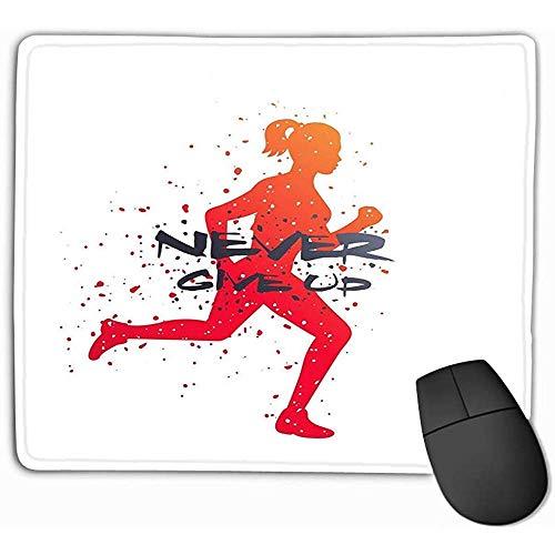 Gaming Mouse Pad Benutzerdefinierte, Persönlichkeit Desings Gaming Mouse Pad 30X25CM Laufen Poster Niemals aufgeben Drucken Laufen Motivations Poster Niemals aufgeben Drucken Eps-Datei Einfach zu