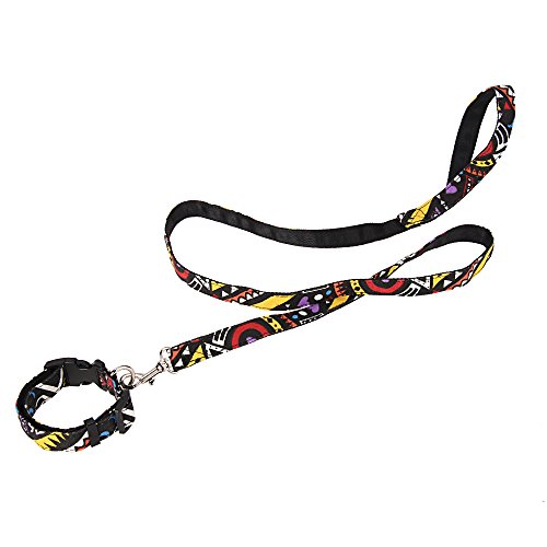 Foxpic Conjunto Collar + Correa Accesorio para Perro Mascota (Negro Estilo Étnico L)