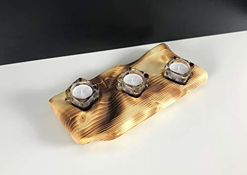 Teelichthalter Teelicht Kerzenständer Kerzenhalter Holz Glas Edel Natur Handmade -