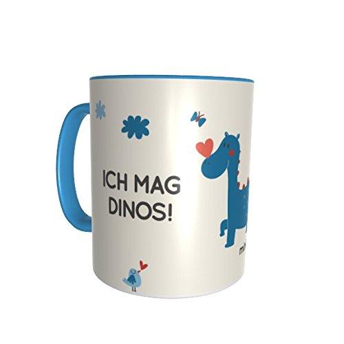 Tasse mit Namen | inkl. Wunschnamen | Motiv Dinos Dino-Saurier Blau | Personalisiert & spülmaschinenfest | Material Keramik | Kinder-Tasse Jungen Geschirr Geschenk (Tassen Kinder-spülmaschinenfest)