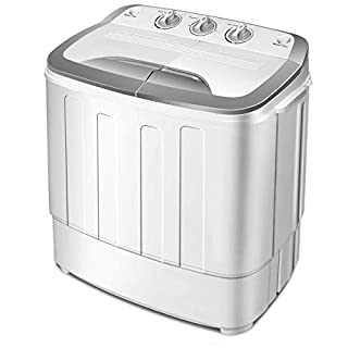 COSTWAY Mini 5.6KG Twin Tub Washing Machine, Washer Spin Dryer, Gravity Drain, Space Saving, Separate Timing Function for Easily Operate, Portable & Compact for Apartment, Hotel, Home