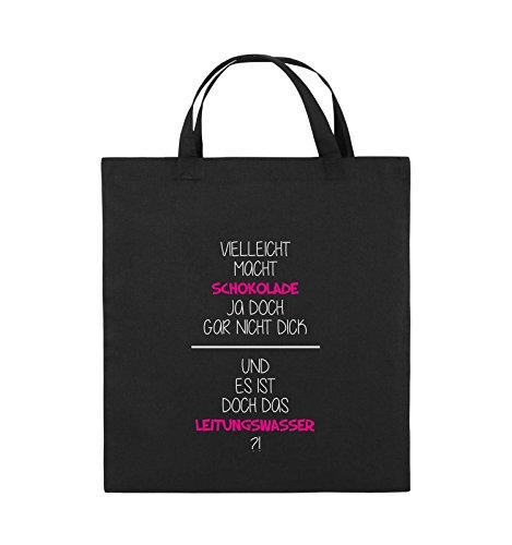 Comedy Bags - Vielleicht macht Schokolade ja doch gar nicht dick. - LEITUNGSWASSER - Jutebeutel - kurze Henkel - 38x42cm - Farbe: Schwarz / Weiss-Neongrün Schwarz / Weiss-Pink