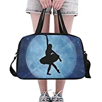 Plosds Duffel Bag Large Ballet Silhouette Blue Dazzle Rays Dance Pose Yoga Gym Totes Fitness Handbags Duffel Bags Shoe Pouch For Sport Luggage Womens Outdoor Sport Bags For Kids