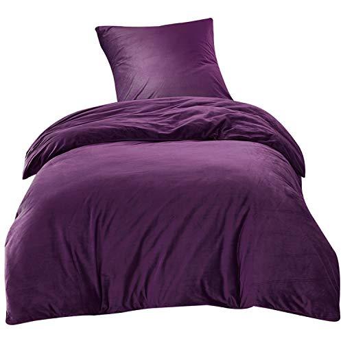 Bettwäsche 140x200cm Lila Einfarbig Flauschig Warm mit Cashmere Touch 2-teilig Bettbezug & Kissenbezüge 65x65cm Luxus Solid Velvet Crystal Ideal für Winter