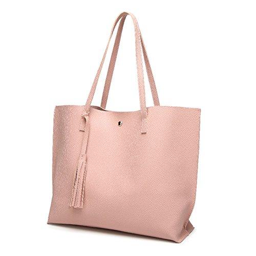 Compleanno / Regalo di San Valentino,Borse a tracolla donna Shopping Tote Borse a mano grande in pelle PU Borse da donna rosa