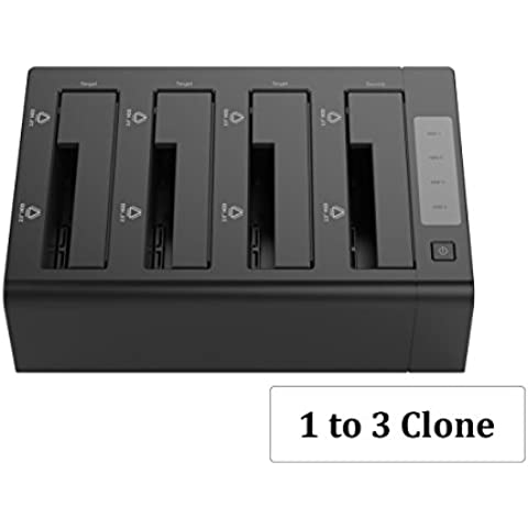 ORICO 4 Bay USB 3.0 SATA Hard Drive Docking Station/Duplicator for 2.5/3.5 inch HDD ABS Material - 1 to 3 Clone External Hard Drive Dock (Diskless) - Black (6648US3-C)