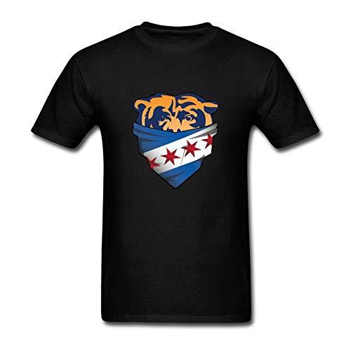 Bären Custom Schwarz T-shirt (ZhiBo Bären Chicago Flag Bandana Zoom Customs T-Shirts für Männer Schwarz Large, 4XL)