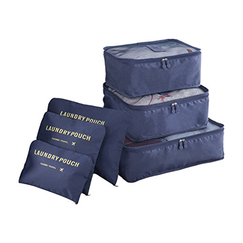 COOJA Set 6 Travel Organizers 3 Packing Cubes + 3