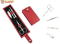 Nail Manicure Tools - Portable 4 In 1 Mini Nail Manicure Set Kit Carbon Steel Nail Care Kits Including Nail Clippers Scissors File Tweezers Home Utility & Travel Accessories Kit Set - Beauty Tools & Accessories - Nail Cleaner Set By KARP - Red Color
