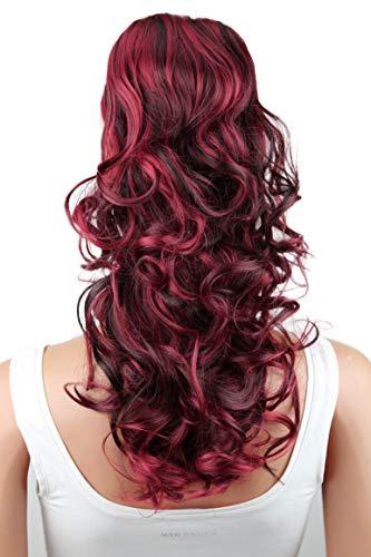 PRETTYSHOP Haarteil Zopf Pferdeschwanz Haarverdichtung Haarverlängerung VOLUMINÖS 55cm schwaru rot mix #2H113A PH38