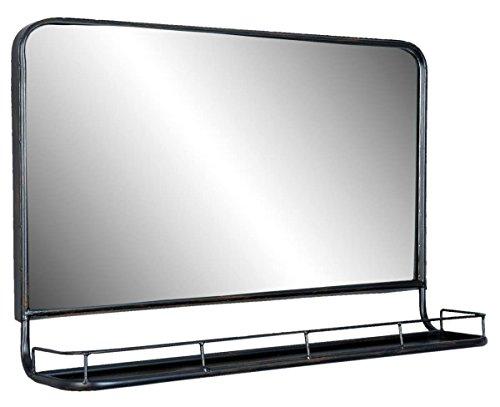 Clayre & Eef 52S097 Spiegel/Wandspiegel/Wandregal mit Ablage Metal Schwarz Industriell 60 * 15 * 40 cm