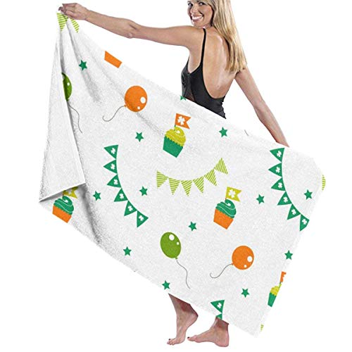 Gebrb Duschtücher/Badetücher,Strandtücher, Women's Bath Towel Wrap - Irish Party Pattern Travel Waffle Spa Beach Towel Wrap for Girls (Irish Party Spiele)