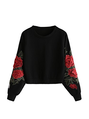 ROMWE Damen Sweatshirt mit Rose Applikation Herbst Winter Shirt Pullover Schwarz L