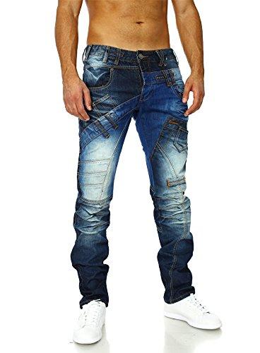 Stylische Vintage Jeans Männer Ziernähte Jeansnet Blau