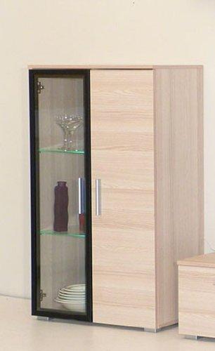 Dreams4Home Vitrine 'Basel', 65 x 109,5 x 35,5 cm, Esche, Rahmentür schwarz, wahlweise mit Beleuchtung, Beleuchtung:Mit Beleuchtung - Blau