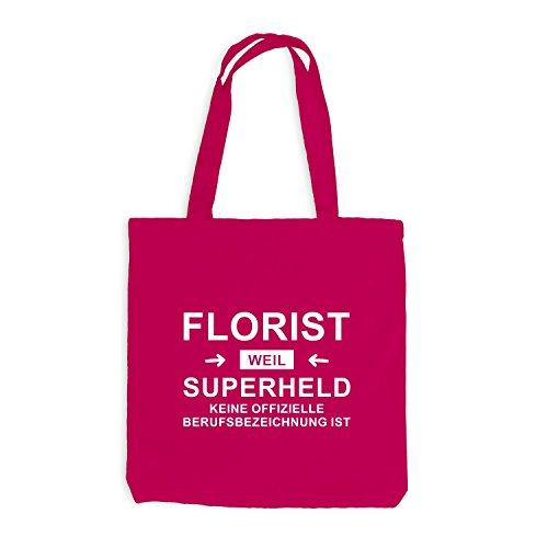 Jutebeutel - Florist Superheld - Hero Beruf Pink