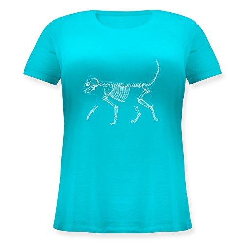 Katzen - spooky cat - Lockeres Damen-Shirt in großen Größen mit Rundhalsausschnitt Türkis
