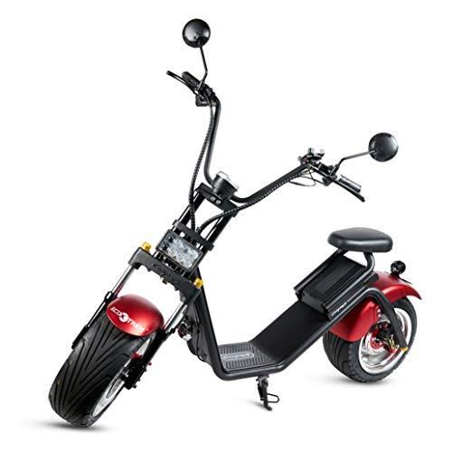 Moto City Coco, Caigiees, Guardabarros Rojo, Motor 1200W, Velocidad 45-65km/h, Autonomía 45-55km, 1 bateria extraíble, Doble asiento, Luz LED, Pantalla...