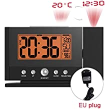 Monllack Reloj de proyección B0211ST-V2 Techo de pared digital Reloj de retroiluminación LCD Snooze