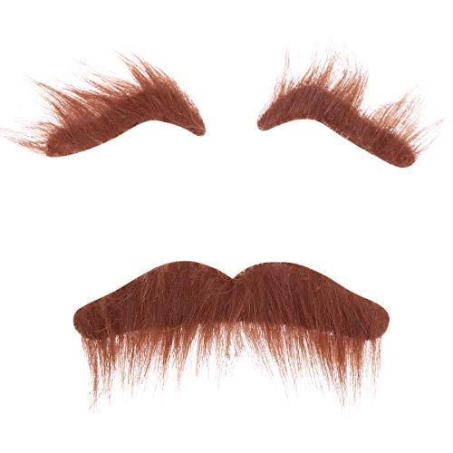 de gefälschte Augenbrauen Bart Schnurrbart Kit Neuheit Kostüme Halloween Kostüme Gesichtsbehaarung Cosplay Requisiten Verkleidung Dekoration Für Maskerade Kostüm Party (Braun) ()