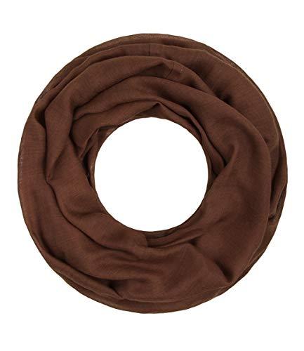 Majea Loop Cary Basic Schal Tuch Damen-schal Schlauchschal Rundschal Halstücher uni unifarben Loopschal einfarbig (braun)