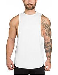 8e861c1a17c264 YeeHoo Men s Fitted Muscle Stringer Vest Cut Open Sides Workout Tank Tops  Gym Bodybuilding T-