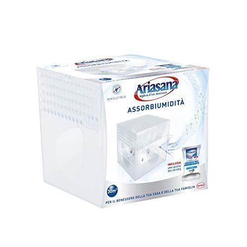 Ariasana kit mini deumidificatore, assorbi umidità fino a 30 m², assorbiumidità anche per cantina, stanzino, bagno, cucina, camper, dispositivo e 1 ricarica in sali da 450 g