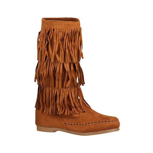 Elara Damen Stiefelette | Mokassin-Stiefellete mit Fransen| Bequeme Flache Stiefel | Chunkyrayan HU967 Camel-40