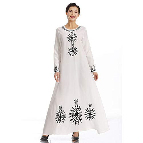 Sixcup®Damen Muslimische Stickerei Langarm Kleid Maxikleid Langes Elegantes Kleid O-Ausschnitt Kostüm Knöchellang Sommerkleider Robe Gewand Islamische Kleidung Burqa (White, L)