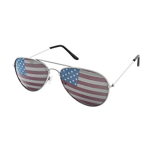 American USA Flagge Design Metall Rahmen Aviator Unisex Sonnenbrille mit Print gemustert Objektiv für Sun Schutz, Fahren, Eye Wear By Super Z Auslass, Silber