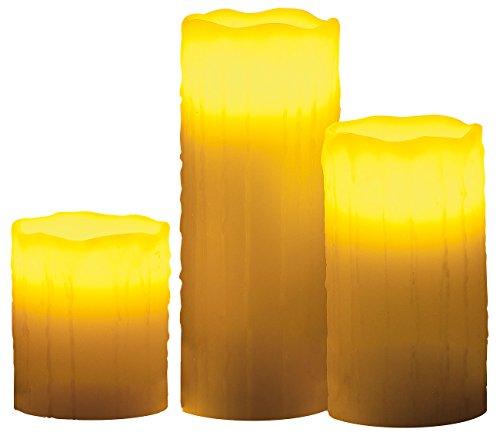 Lunartec LED-Echtwachskerzen mit Candle-LED & Funk-Fernbedienung, 3er-Set