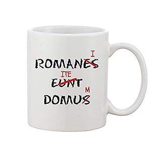 Finest Prints Romanes Eunt Domus Romani ITE Domum White Ceramic Coffee and Tea Mug