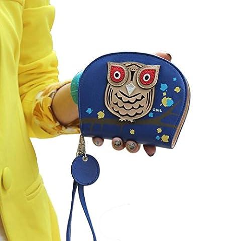 Femme Fille hibou pimpant Porte-monnaie, QinMM Les petits objets Coin Argent Sacs fermeture éclair Portefeuille (Bleu)
