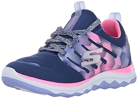 Skechers Girls' Diamond Runner Trainers, Blue (Navy/Hot Pink), 3 UK