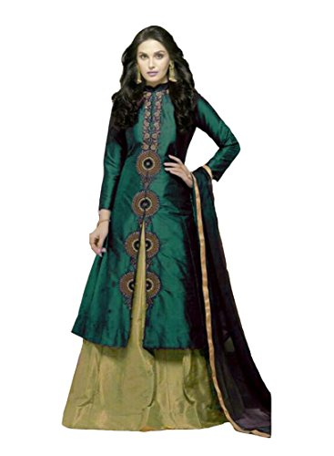 Mira Creation Women's Taffeta Silk & Nazneen Fabric Salwar Suit Come Indowestern (Color : Blue & Green; Size :...