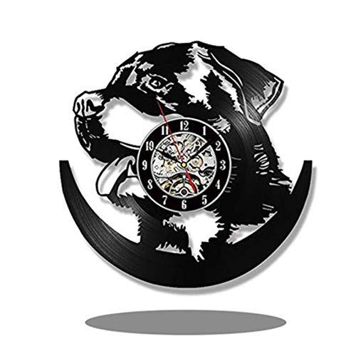 wczzh 12 Zoll(30cm) Modern Quartz Lautlos Wanduhr Uhr Uhren Wall Clock Hund Schallplatte Wanduhr - Kinderzimmer Wanddekoration Geschenk G05