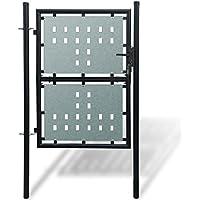 vidaXL Portillon de jardin Single Noir Portail porte de clôture en acier 100 x 175 cm