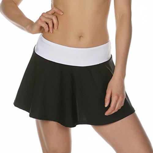 Summer Flared Beach Skirt Women Lycra Circular Sarong Bikini Cover up Dress Swimwear Pareo (Black & White Large – Fits Medium & Large)