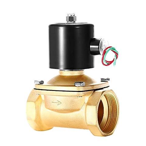 Happybuy Laiton électrique Électrovanne 5,1cm BSP 220V AC Eau Électrovanne normalement fermé Électrovanne pour eau Air gas