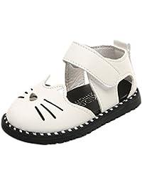 OHQ Scarpe per Neonato, bambini Ragazze Sandali di Stampa del Fumetto Gatto Principessa Scarpe Casual Bambina Bambino Cat Head Bag (24, Bianca)