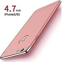 Funda iPhone 6/6s, PRO-ELEC Carcasa iPhone 6/6s con [ Protector de Pantalla de Vidrio Templado ] 3 en 1 Desmontable Ultra-Delgado Anti-Arañazos iPhone 6 Funda Protectora - 4.7 pulgada - Oro rosa